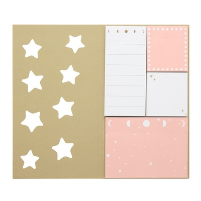 CR Gibson Paper folio, 8 sticky notes and page flags, 50 sheets each, Measures 4.5 x 8 x 0.5