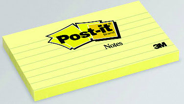PostIt Notes 3 in x 3 in Canary Yellow 4 PadsPack