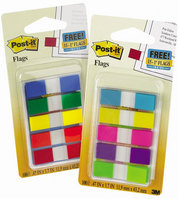 3M Postit Flags, Assorted Primary Colors, .47 in. Wide, 100OntheGo Dispenser