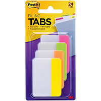 3M Postit  2 Solid Tabs, Assorted Bright Colors, 6 TabsColor, 4 Colors, 24 TabsPack