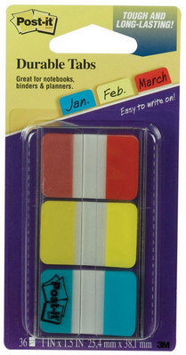 3M Postit Tabs 1 inch Solid 36 TabsDispenser (Red, Yellow, Blue, 12Color)