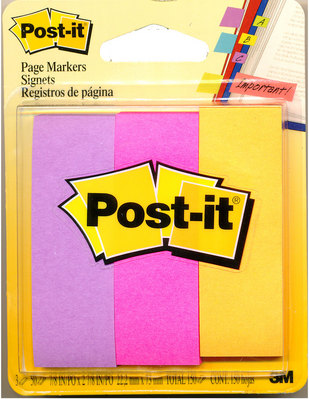 3M Postit Page Markers, Assorted Neon Colors , 1 in x 3 in, 50Pad, 3 PadsPack