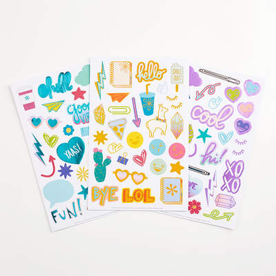 Erin Condren Doodles & Desk Sets Stickers Trio  3 Sticker Sheets