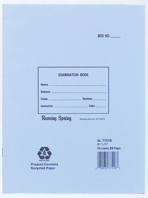 Blue Examination Book 11X8.5 20 Pages