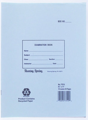Blue Examination Book 11X8.5 24 Page