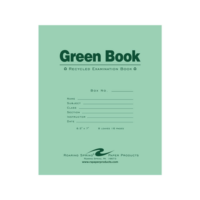 Roaring Spring Green Exam Book, Wide Ruled, 8.5 x 7, 8 Sheets