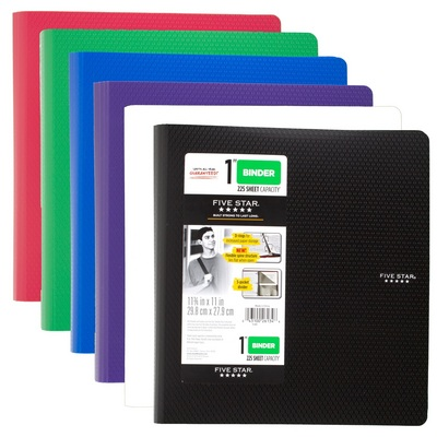Five Star 1 Plastic Binder Assorted Colors 11 34 x 11