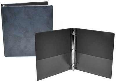1.5 inch Dark Gray and Navy Textured Binder, 8.5x11, Round ring