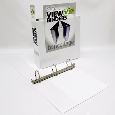 2 inch White Polypropylene Clear Overlay Binder, 8.5x11, Angle D ring