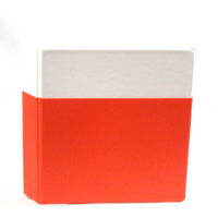 Exclusive 1.5 inch Vinyl Pocket Binder, 8.5x11, Round Ring, White binder with Maroon pocket