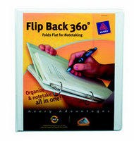Avery Flip Back 360 Degree Binder, 1 Rings, 175Sheet Capacity, White