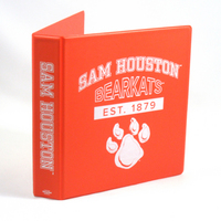 1.5 Inch Orange Vinyl Binder, 8.5x11, Round Ring, 1 Color Imprint