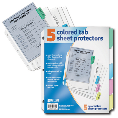 B&N at Emory Bookstore - Better Sheet Protector 5 Color Tabs