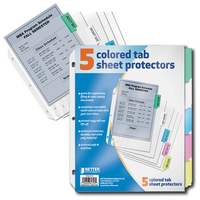 Better Office Products 5 Colored Tab Sheet Protectors
