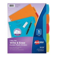 Avery Big Tab Write & Erase Durable Plastic Dividers, 5Tab Set, Multicolor