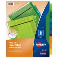 Avery Big Tab Insertable Plastic Dividers, 8Tab Set, Multicolor