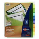 Avery Big Tab Insertable Plastic Dividers with Pockets, 8Tab Set, Multicolor