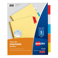 Avery Big Tab Insertable Dividers Buff Paper 5Tab Set Assorted Colors
