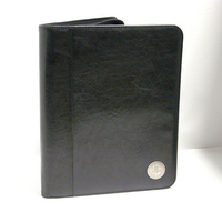 Zipper Closure Graduate Alumni Padfolio, Black, with Medallion