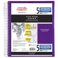 Five Star Customizable Wirebound Notebook, 5 Subject, College Ruled, 11 x 8 12, Assorted Colors