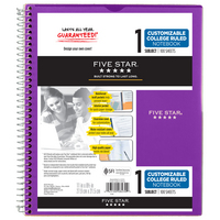 Five Star Customizable Wirebound Notebook, 1 Subject, College Ruled, 11 x 8 12, Assorted Colors