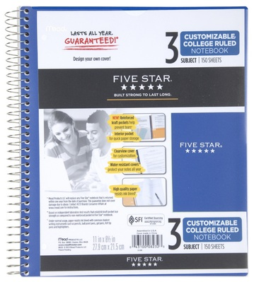 Five Star Customizable Wirebound Notebook, 3 Subject