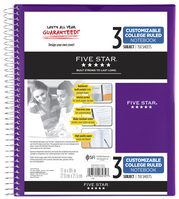 Five Star Customizable Wirebound Notebook, 3 Subject, College Ruled, 11 x 8 12, Assorted Colors