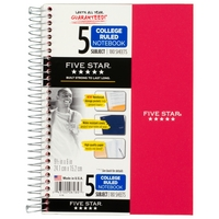 Five Star Wirebound Notebook, 5 Subject, College Ruled, 9 12 x 6, Assorted Colors