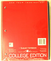 1 Subject College Ruled Notebook