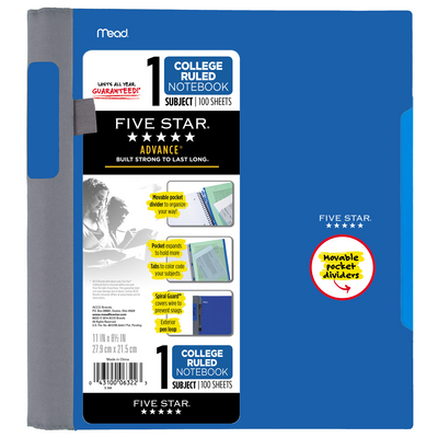 Five Star Advance Wirebound Notebook, 1 Subject, College Ruled, 11 x 8 12, Assorted Colors