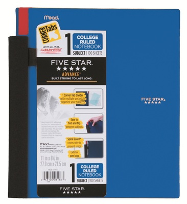 Five Star Advance Wirebound Notebook, 1 Subject, College Ruled, 11 x 8 12