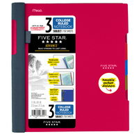 Five Star Advance Wirebound Notebook, 3 Subject, College Ruled, 11 x 8 12, Assorted Colors