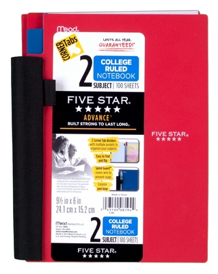 Five Star Advance Wirebound Notebook, 2 Subject, College Ruled, 9 12 x 6, Assorted Colors