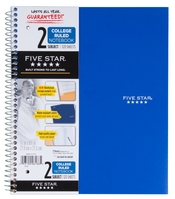 Five Star Wirebound Notebook, 2 Subject, College Ruled, 11 x 8 12