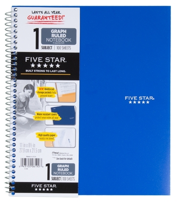 Five Star Wirebound Notebook, 1 Subject, Graph Ruled, 11 x 8 12