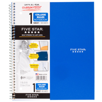 Five Star Wirebound Notebook, 1 Subject, College Ruled, 11 x 8 12, Assorted Colors 100 ct