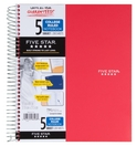 Five Star Wirebound Notebook, 5 Subject, College Ruled, 11 x 8 12, Assorted Colors 200 ct