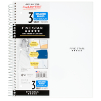 Five Star Wirebound Notebook, 3 Subject, College Ruled, 11 x 8 12, Assorted Colors 150 ct