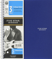 Five Star Wirebound Notebook, 3 Subject, 150 ct, Asstd, CR