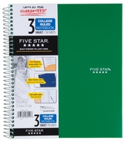 Five Star Wirebound Notebook, 3 Subject, College Ruled, 11 x 8 12