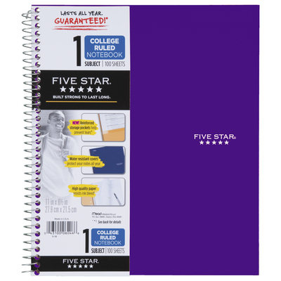 Five Star Trend Wirebound Notebook, 1 Subject, College Ruled, 11 x 8 12, Assorted Colors