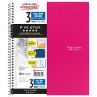 Five Star Trend Wirebound Notebook, 3 Subject, College Ruled, 11 x 8 12, Assorted Colors