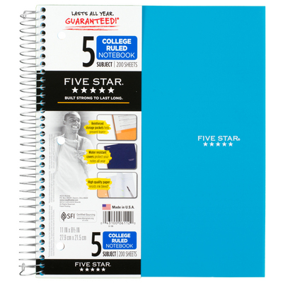 Texas A M University San Antonio Book Five Star Trend Wirebound Notebook 5 Subject College Ruled 11 X 8 12 Orted Colors
