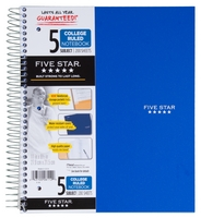 Five Star Trend Wirebound Notebook, 5 Subject, College Ruled, 11 x 8 12, Assorted Colors