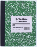 Roaring Spring Hard Cover Green Marble Composition Book 9.75x7.5 5X5 Graph Ruled 100 Sheets