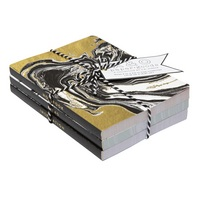 C.R. Gibson Black and Gold Small Marble Journal, Set of 3