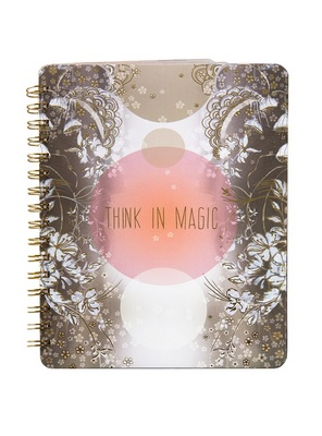 Papaya Spiral Bound Notebook, 7x9, Think In Magic