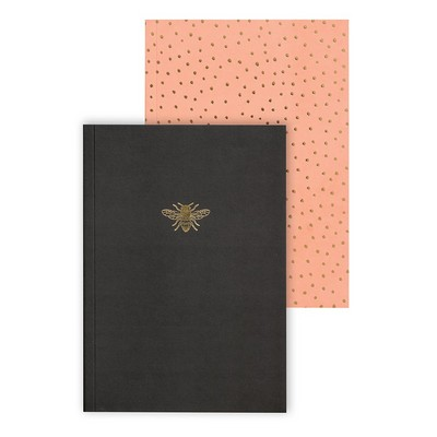 Set of 2 slim journals  Charcaol  Coral