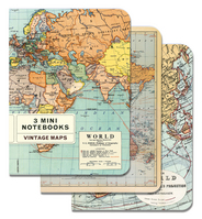 3 Mini Notebooks  Vintage Maps