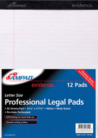 Ampad Perforated Writing Pad, 8 12 X 11 34, White, Wide Ruled, 50 Sheets